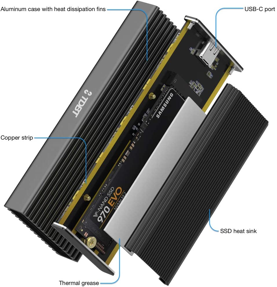 10Gbps USB-C to PCIe NVMe M.2 Hard Drive Enclosure with Thermal Cooling Pad NVMe M.2 Drive to USB-C External Storage Enclosure TDBT M.2 NVMe SSD Enclosure with Heat Sink Fits M-Key B+M Key NVMe SSD