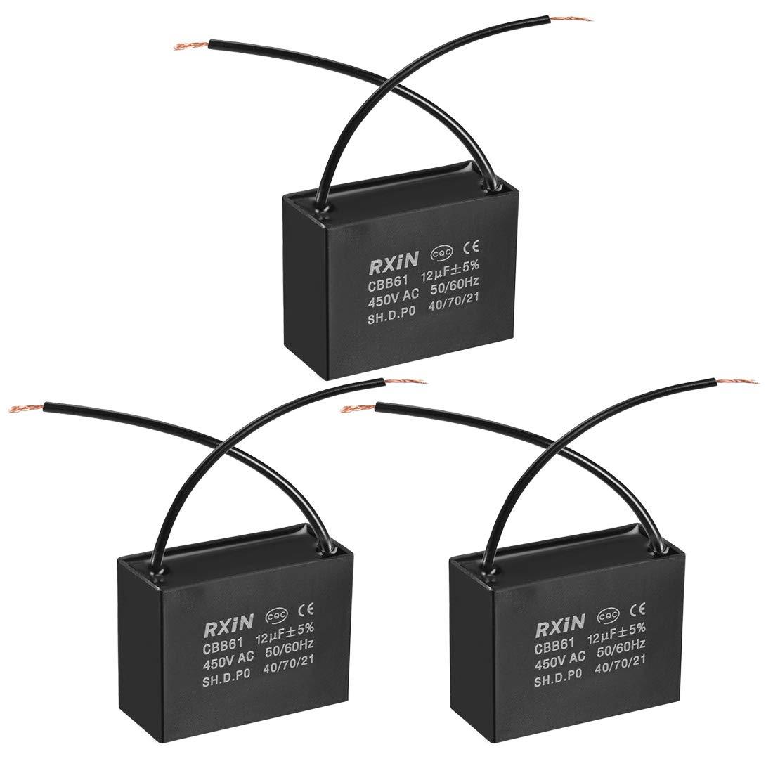 sourcing map Condensador De Funcionamiento CBB61 1.2Uf 450V AC 2 Cables Condensadores De Pel/ícula De Polipropileno Metalizado para Ventilador De Techo 5Pcs