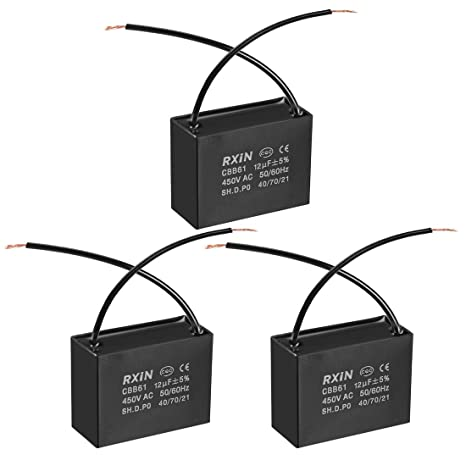 uxcell CBB61 Run Capacitor 450V AC 15uF 2 Wires Metallized Polypropylene Film Capacitors for Ceiling Fan