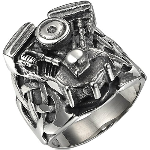 Small Engine Motorcycles (Valyria Jewelry Mens Stainless Steel Black Motorcycle Small Engine Ring Comes with a Free Gift Bag (11))