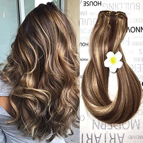 Clip in Human Hair Extensions Medium Brown with Honey Blonde Highlights 4/27 Clip on Balayage Ombre Hair Extensions 16 inch 7 PCS Full Head Silky Straight Long Fine Hair 70g Remy Hair