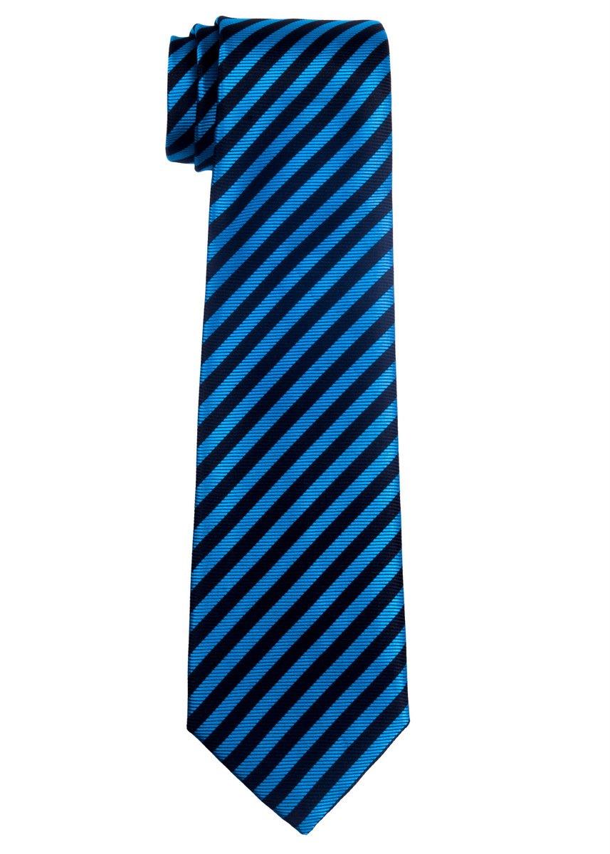 Retreez Striped Woven Microfiber Boy's Tie (8-10 years) - Blue and Black Stripe