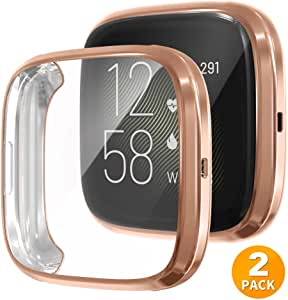 Tensea Case for Fitbit Versa 2 Screen Protector, 2 Packs Soft TPU Bumper Full Around Cover Protector for Fitbit Versa 2 (Rose Gold)