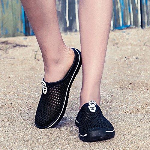 Piscine Chaussures Hommes Chaussons Chaussures Noir Respirant de Et Femmes Plage Unisexe Sport Pantoufles Flops Sabots Amants Été Pantoufles Jardin Sandales Flip Sunenjoy Mules CqZnH
