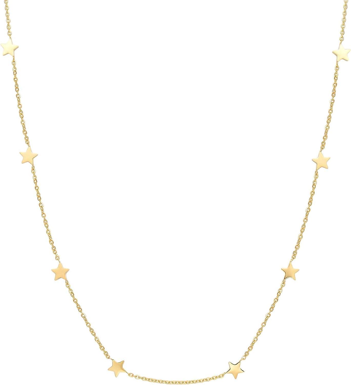 Happiness Boutique Damas Collar de Estrella en Color Oro | Collar Choker Delicado con Colgantes Estrellas Joyería de Acero Inoxidable
