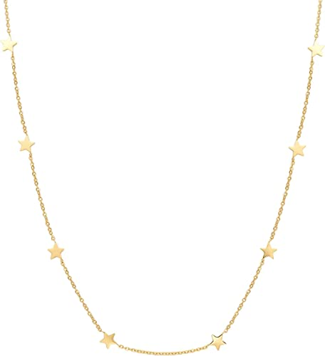 Women Lady Choker Necklace Star Pendants Chain Gold Plated Party Fashion Jewelry