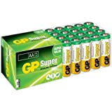 GP Batteries GP15A Süper Alkalin LR6/E91/AA  Kalem Pil, 1.5 Volt, 24'lü Paket, Bakır/Beyaz/Yeşil