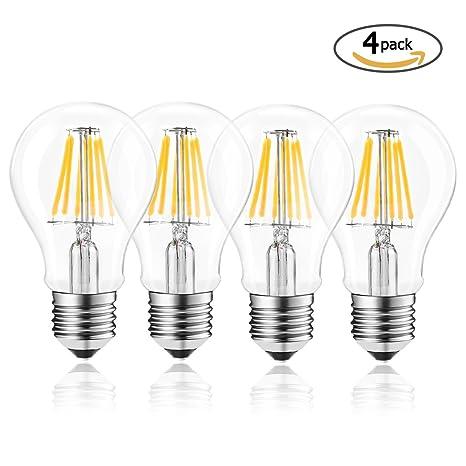 Wedna Bombilla LED esférica E27, 6 W 2700K blanco cálido Edison Bombillas, equivalente a