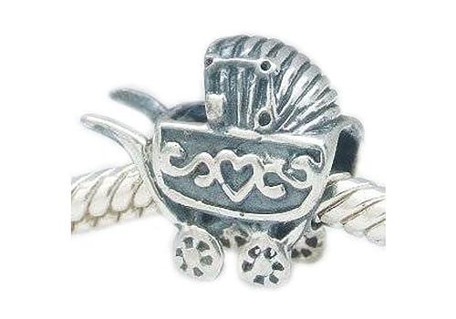 Carrito para/con forma de carrito de bebé - broche de plata de ley cuenta para pulsera - Compatible con joyas Pandora, Chamilia pulseras etc - SpangleBead: ...