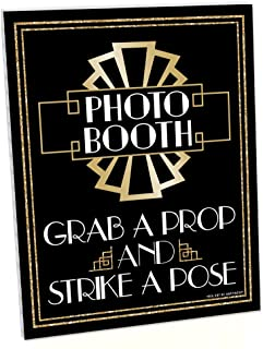 product image for Big Dot of Happiness Roaring 20's Photo Booth Sign - 1920s Art Deco Jazz Party Decorations - Printed on Sturdy Plastic Material - 10.5 x 13.75 inches - Sign with Stand - 1 Piece