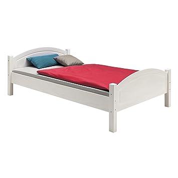 Holzbett massiv weiß  IDIMEX Holzbett Einzelbett Bett FLIMS Kiefer massiv weiss lackiert ...