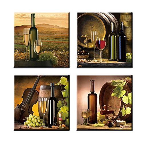 GOUPSKY Art - Vintage Red Grape Wine in Bottle and Cups Wall Art Pictures Paintings Kitchen Giclee Canvas Prints Stretched and Framed Wall Art for Home Decoration Dining Room 4pcs/Set