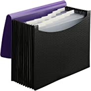 Smead Poly Expanding File Folder, 12 Pockets, 12 Customizable Tiered Tabs, Flap and Cord Closure, Letter Size, Wave Pattern P