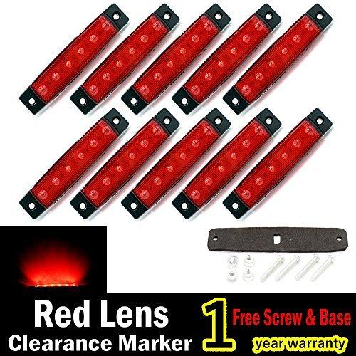 "10 pcs TMH® 3.8"" 6 LED Red Side Led Marker, Trailer marker lights, Led marker lights for trucks, Marker light, Cab Marker, RV Marker light Red, Rear side marker light"