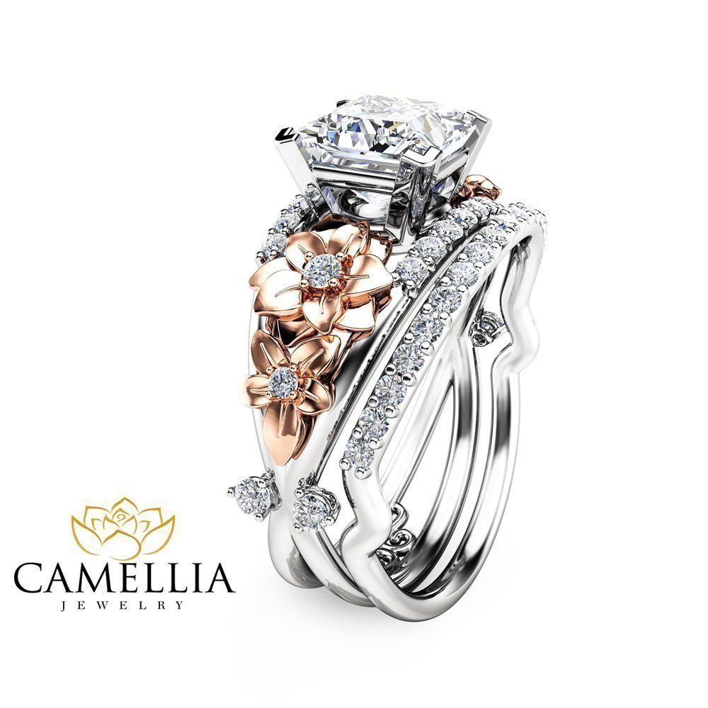 engagement tone flower diamond unique media gold camellia two rings ring set natural