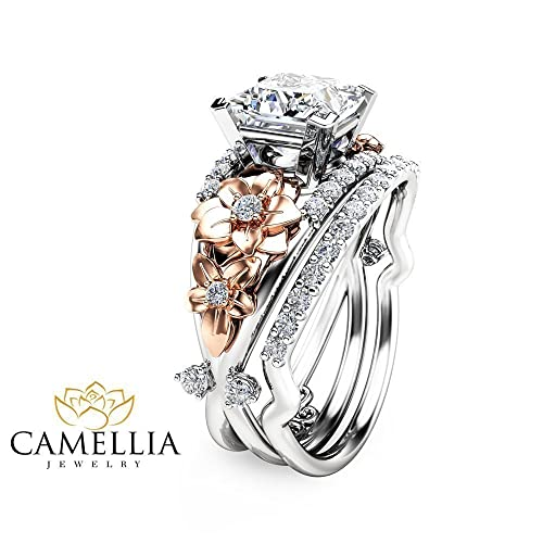 Amazon Princess Cut Moissanite Engagement Ring Set Floral 14K