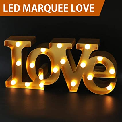 bright zeal 7 tall large led love marquee sign letters gold 6hr timer