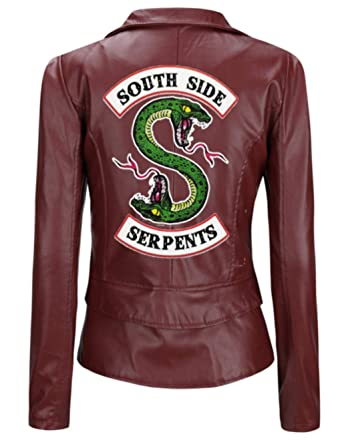 ZZBM Riverdale Southside Serpents Donna Giacca Faux Leather Jacket Elegante Cappotto