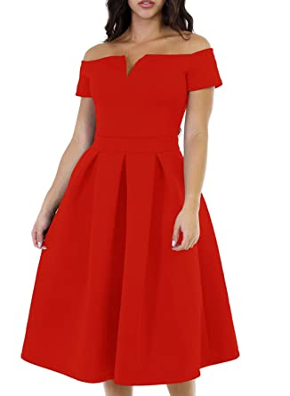 a539f7d0b62 Lovezesent Women Vintage 1950s Off The Shoulder Swing Party Cocktail Midi  Dress at Amazon Women's Clothing store: