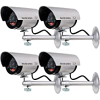 WALI Bullet Dummy Fake Surveillance Security CCTV Dome Camera Indoor Outdoor with 1 LED Light, Warning Security Alert Sticker Decals (TC-S4), 4 Packs, Silver
