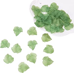 PH PandaHall About 100 Pcs Frosted Style Acrylic Maple Leaf Charm Pendants for Jewelry Making 24x22.5x3mm Green