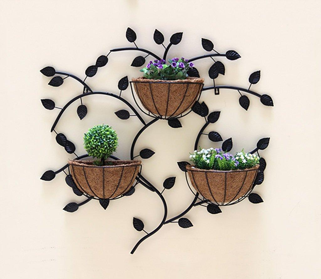 花のラックを吊るす、ヨーロッパのクリエイティブアイアン壁、花柄の棚を吊るす、室内壁の装飾花ホルダー85 * 85CM (色 : 白) B07DC726ZF 白