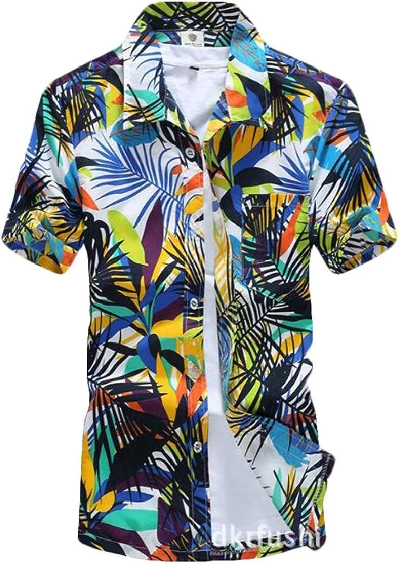 Domple Men Short Sleeve Loose Beach Quick Dry Casual Print Dress Shirt