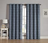 Grommet Window Curtain Panel Two Piece Set: White Embroidered Swirl Design (Slate Gray) For Sale