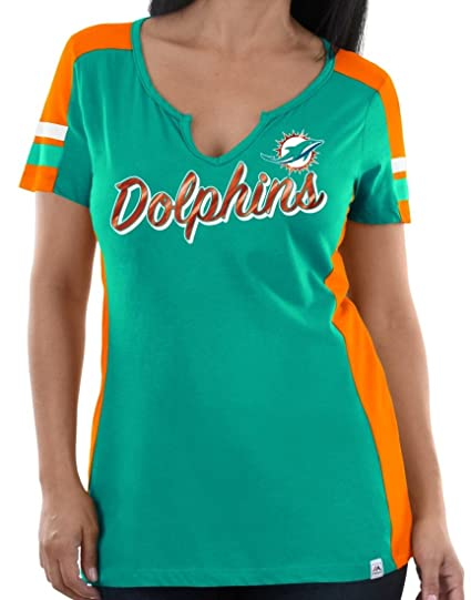 c3fc3e24c Amazon.com   Majestic Miami Dolphins Womens Pride Playing V-Neck Tee ...