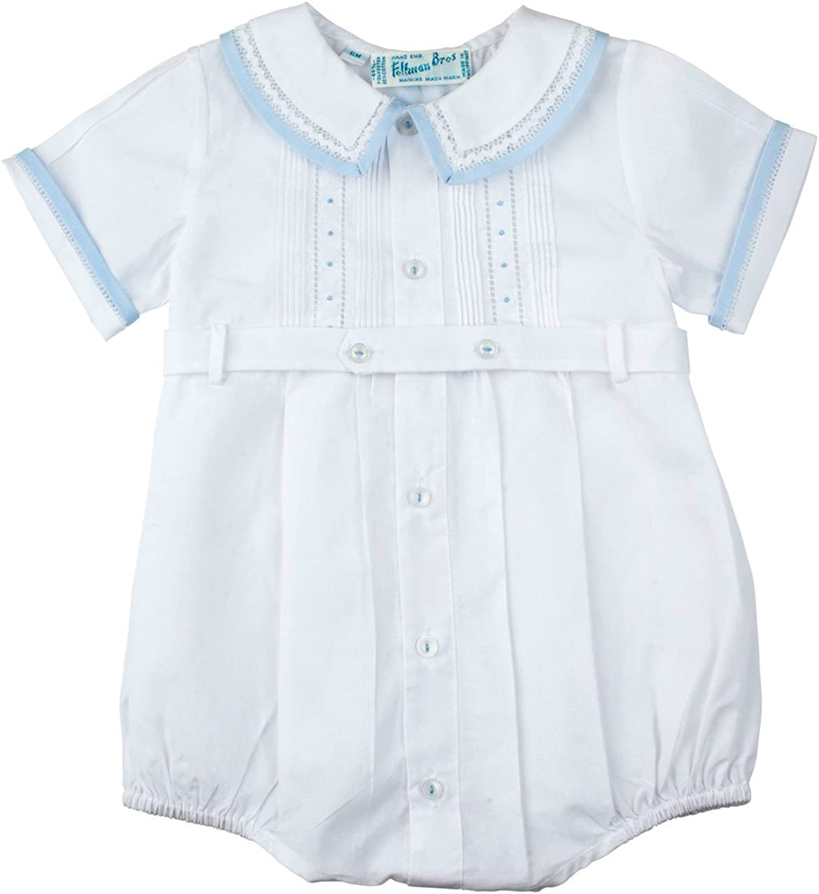 Feltman Brothers Boys White Baptism Romper Outfit with Collar