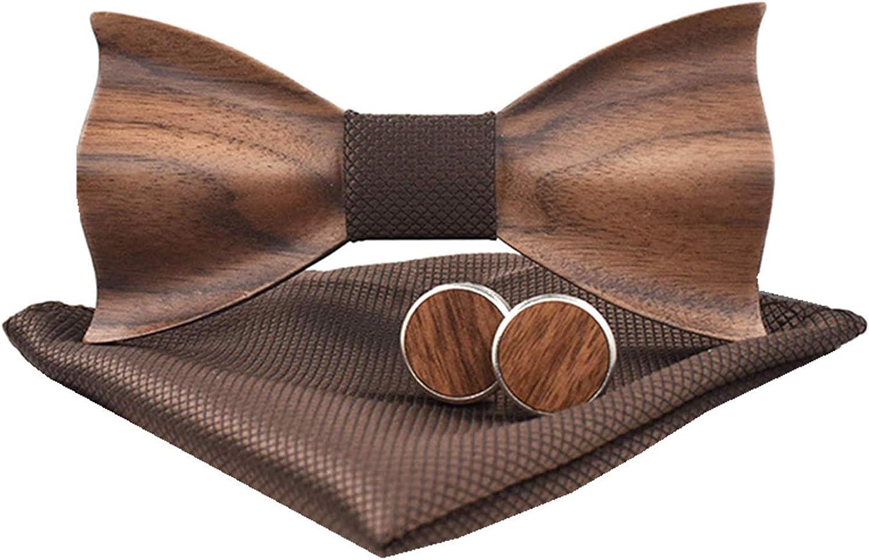 classico papillon in legno goffrato 3D set plaid sciarpa gemelli casual in legno massiccio ecocompatibile Good partner Papillon in legno da uomo