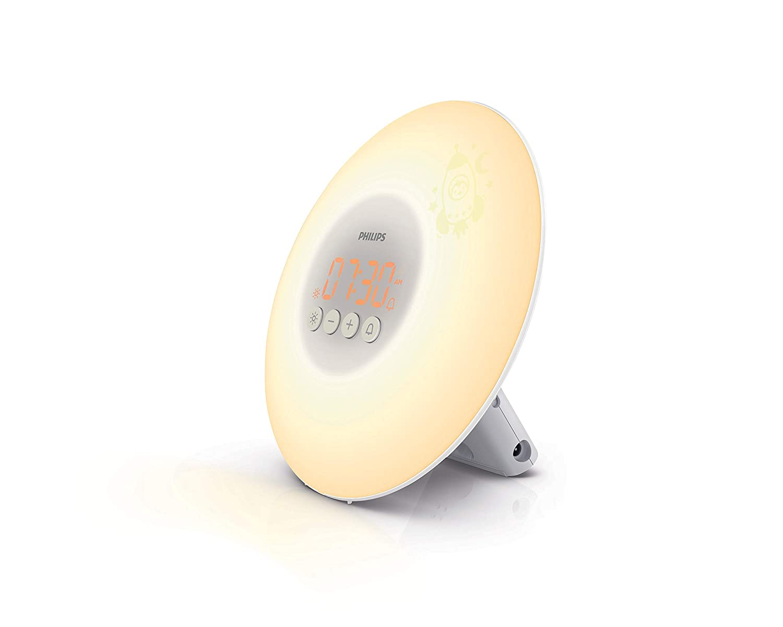 Philips Wake-up Light für Kids HF3503/01 (LED, Aufwachen mit Licht, Leuchttasten, Sticker) weiß Sticker) weiß