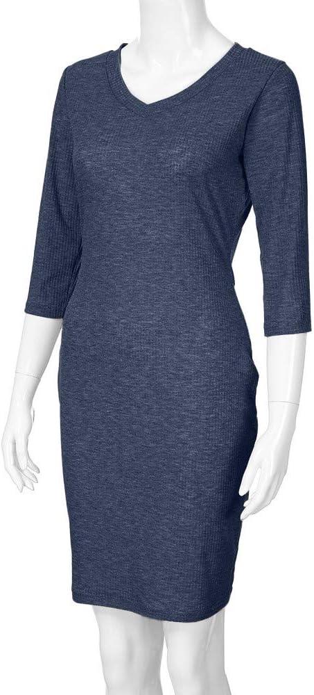 QIUMINGSS Damska Elegant festliches Cocktail Bleistiftkleid Minikleid Business Kleider Abendkleider 1/2 Langarm V-Ausschnitt Einfarbig Freizeit Kleider: Odzież