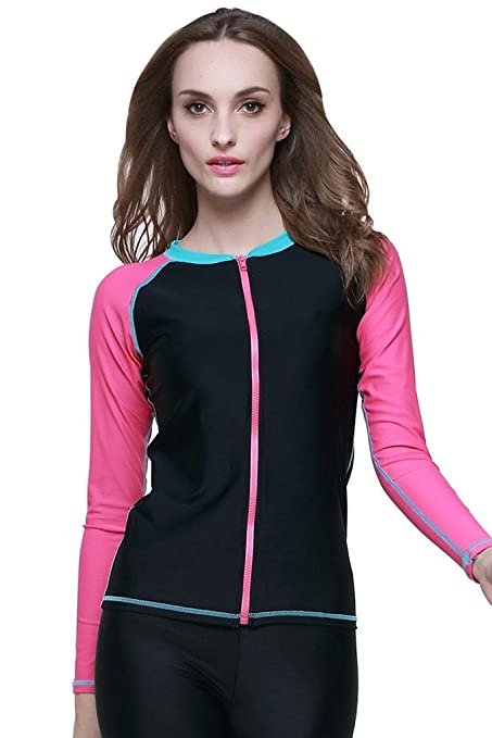 06ec3105c1e Amazon.com  Cokar Women s UPF 50+ Long Sleeve Zip-Front Rashguard ...