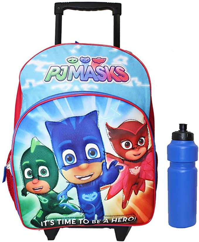 """PJ Masks Time To Save The Day Backpack 12/"""" Small Rolling//Roller School Backpack"""