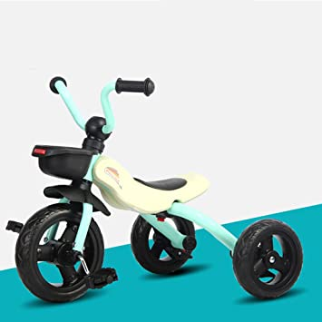 Triciclo Para Niños 2-4 Años De Edad Rueda De Amortiguación De Espuma Coche De Juguete Para Bebés Plegable Bebé Bicicleta 63 * 45 * 53cm (Color : Azul): ...