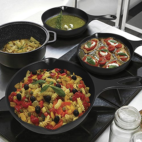 Pre-Seasoned Cast Iron Skillet 3 Piece Set (10, 8 inch & 6 inch Pans) Best Heavy Duty Professional Restaurant Chef Quality Pre Seasoned Pan Cookware For Frying, Saute, Cooking by Amsha Kitchen (Image #4)'