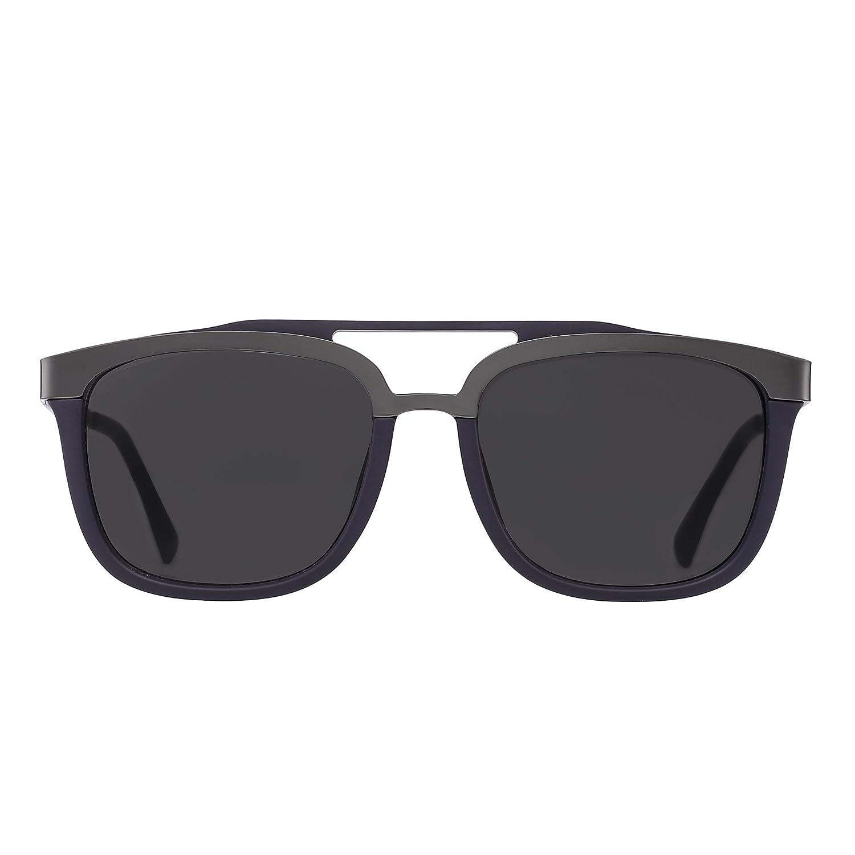 Occhiali da Sole Rettangolari Designer Doppio Ponte Metallo Acciaio Inossidabile Browline Uomo Donna (Matte Blu/Grigio) Qt9t2Sn