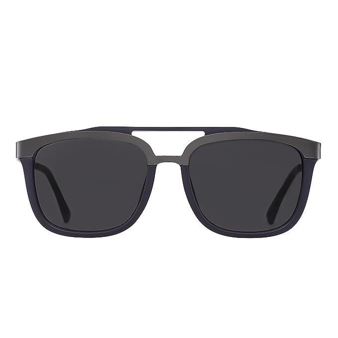 Jim Halo Gafas de Sol Rectangulares Diseñador Doble Puente Acero Inoxidable Browline Hombre Mujer
