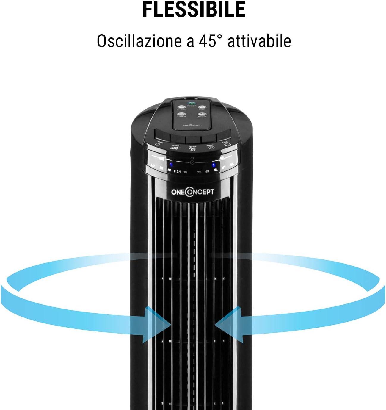 oneConcept Blitzeis - Ventilatore a Colonna, Potenza: 40W, Oscillazione: 45°, Basamento, Telecomando, Display LED, Timer, Rumorosità: 54 Db Max, Nero Nero