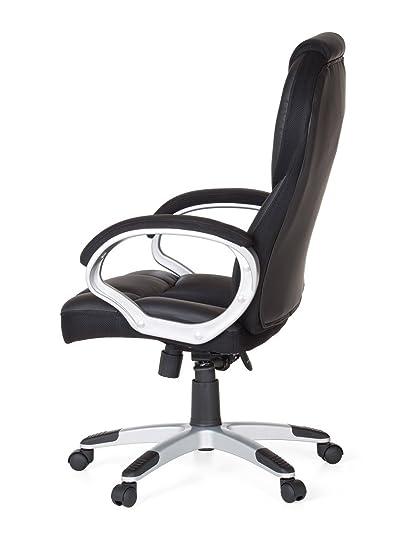 Amstyle Silla de oficina Negro Gaming Racer Sport - Silla con reposabrazos Asiento Giratoria reposacabezas Racing escritorio silla Gamer Diseño Modern ...