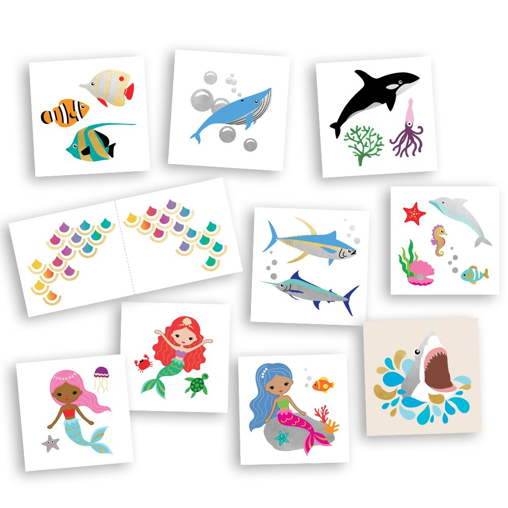 Ocean Friends Super Variety Set includes 50 assorted premium waterproof colorful metallic kids temporary foil under the sea inspired Fun Tats by Flash Tattoos, party favor by Flash Tattoos