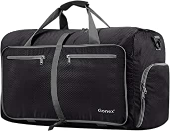 Gonex 60L 80L 40L Packable Travel Weekender Duffle Bag, Water & Tear Resistant Foldable Duffel Bags for Luggage Gym Sports Camping Travelling Cycling Storage Shopping