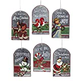 Kurt Adler 4.5-Inch Metal Retro Christmas Tag Ornament Set of 6