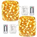 GDEALER 2 Pack 8 Modes 100 LED 33ft Waterproof Fairy Lights Battery Operated Warm White