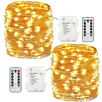 GDEALER 2 Pack 8 Modes 100 LED 33ft Waterproof Fairy Lights Battery Operated