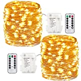 #10: GDEALER 2 Pack 100 Led String Lights Fariy Lights Battery Operated Waterproof Fairy String Lights with Remote Control Timer 8 Modes 33ft Copper Wire Christmas Lights Christmas Decor Warm White