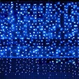 icicle lights blue - Bjour BGGD-63 18W Curtain Icicle Lights Christmas String Fairy Light Blue, 600 LEDs, 8 Lighting Modes, 20ft Length x 10ft Width