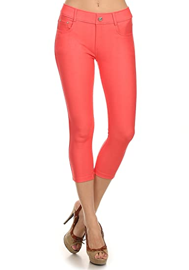 0d243991f59ef Yelete Capri Jegging (Coral;Small) at Amazon Women's Jeans store
