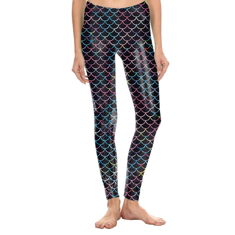 Hamrank Womens Mermaid Fish Scale Print High Waisted Workout Leggings Tights
